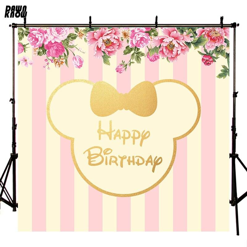 Telón de fondo de fotografía con arco de Mickey de daynknow para sesión de fotos de bebé de dibujos animados florales para niños estudio de fotografía lv1250