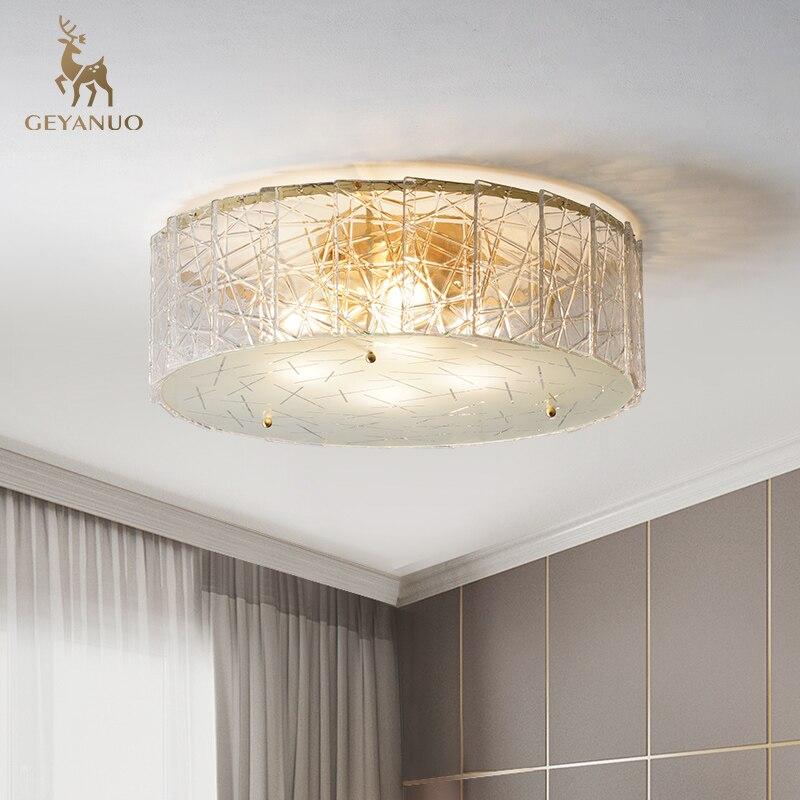 luminaria de teto em cobre moderna lampada de vidro camuflada de luxo simples redonda para estudo