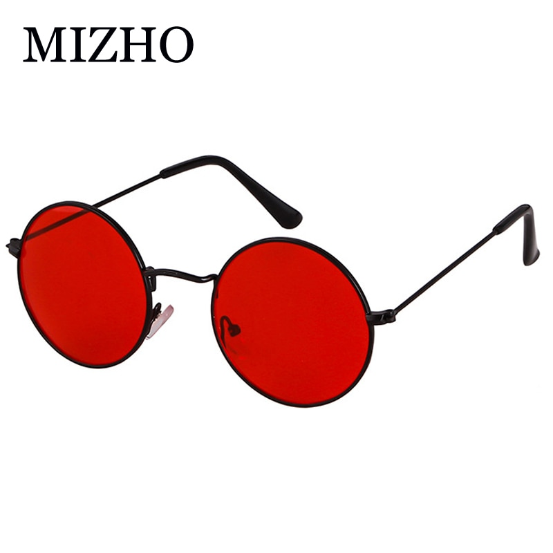 MIZHO 2020 Vintage Red Men Sunglasses Women Retro Punk Style Round Metal Colorful Lens Sun Glasses F
