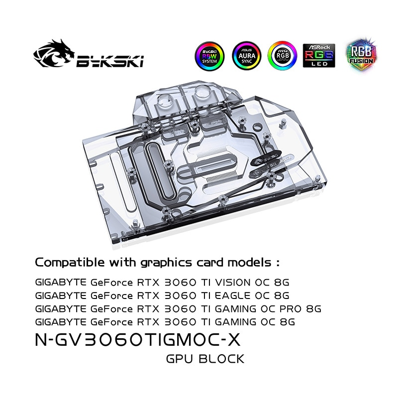 Bykski 3060ti GPU كتلة مياه التبريد ل جيجابايت RTX 3060TI الألعاب OC 8G ، GPU برودة التبريد السائل ، N-GV3060TIGMOC-X