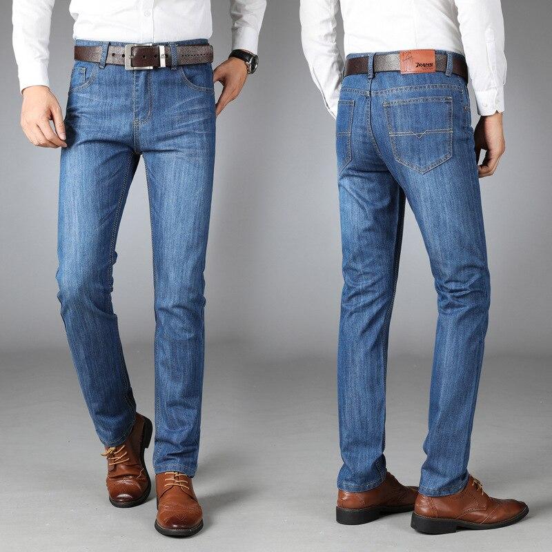 Мужские тонкие прямые брюки, деловые Модные свободные мужские джинсы, Мужские джинсы больших размеров, мужские рваные джинсы, байкерские дж...