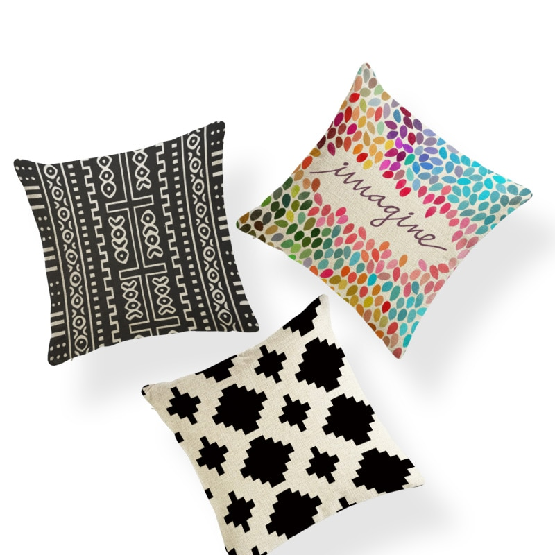 Funda de almohada de Color geométrico, anillo con texto de diamante, zapatillas, almohada para el dormitorio, 43x43Cm, funda de cojín decorativa de lino de poliéster