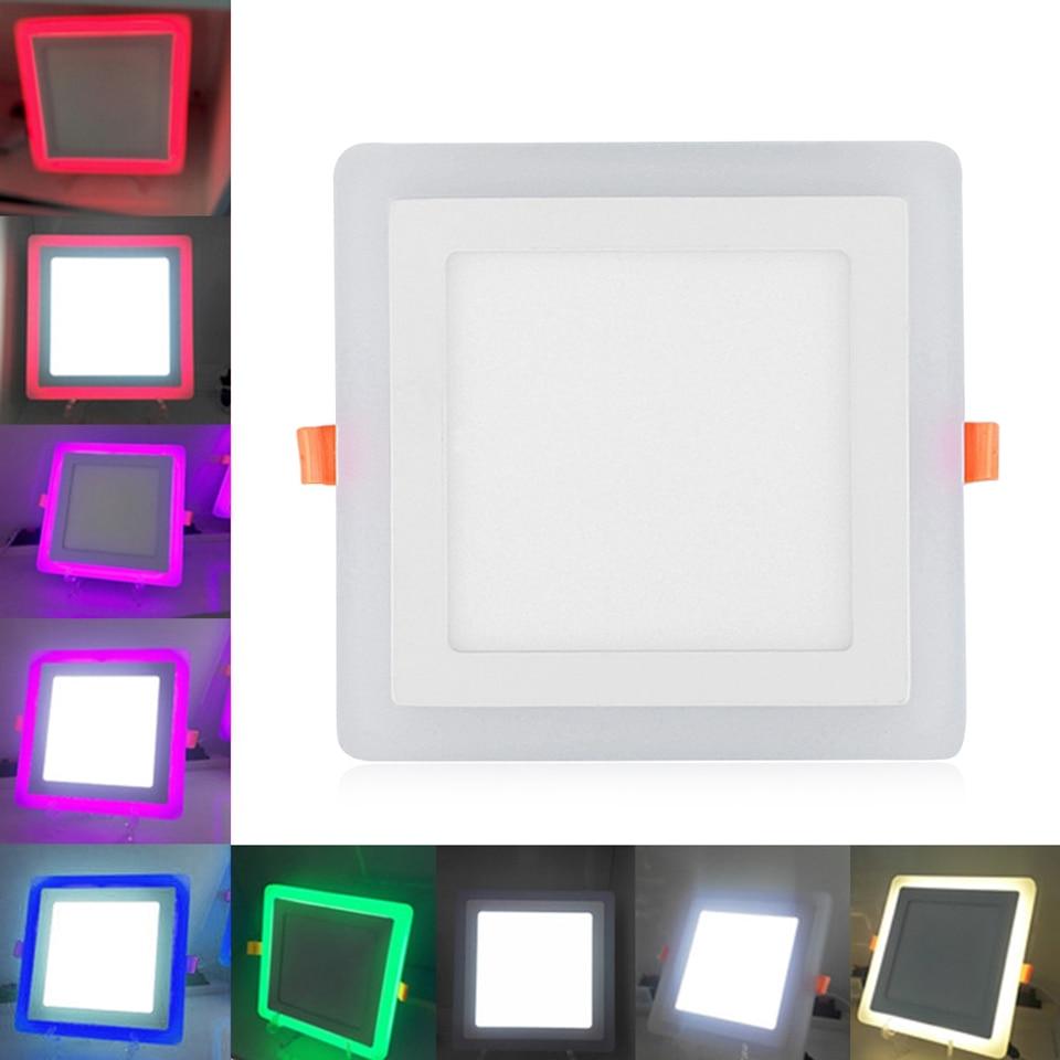 Panel de luces Led RGB cuadrado de doble color, luces abajo de 6W 9W 16W 24W, lámparas de techo LED empotrada Ultra delgada con controlador remoto