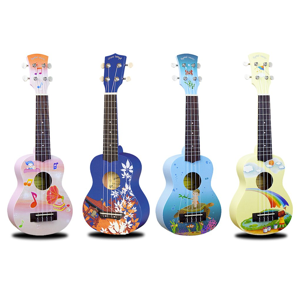 Ukulele 21 Inch Hand-Painted Cartoon Pattern 4 Strings Uke Bass Stringed Musical Instrument Perfect For Beginners