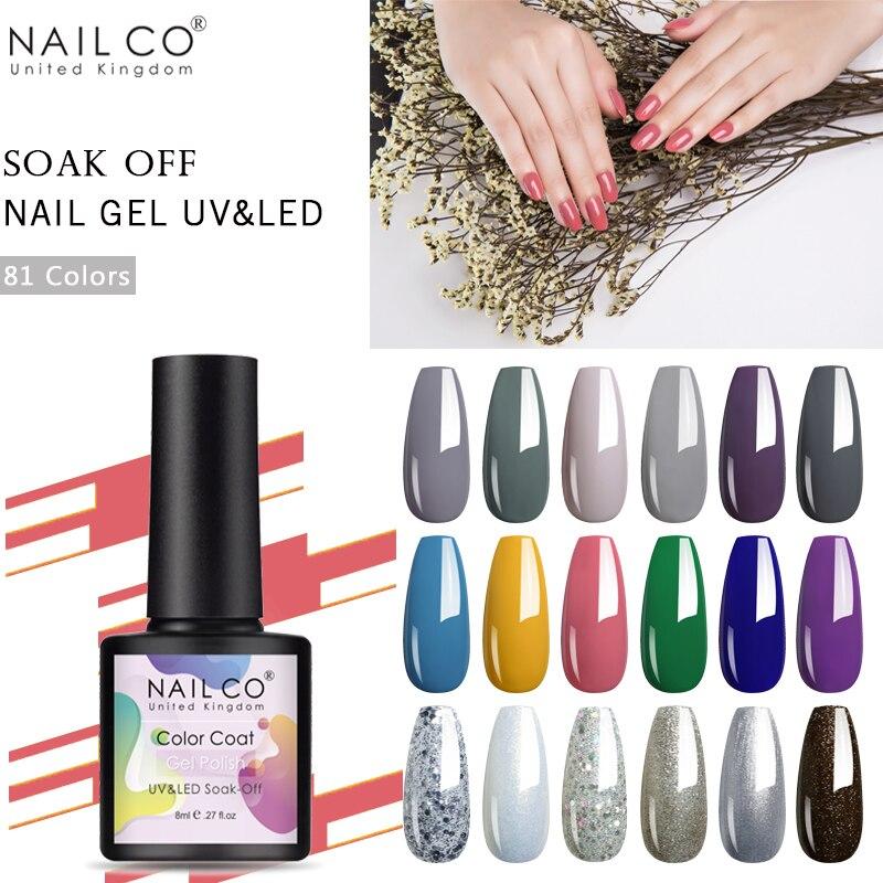 NAILCO 8ml 81 Colors Soak Off Nail Gel Uv Led Vernis Semi Permanent Hybrid Varnish Gellak Acid free Art Gel Polish Lacquer