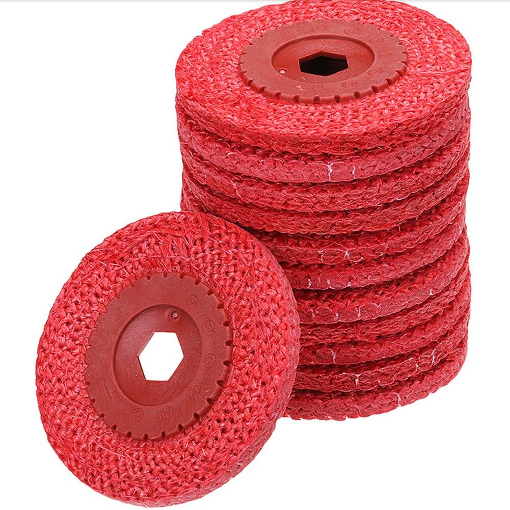 12pcs 4 Inch Abrasive Flap Disc Red Rough Hemp Rope Industury Polishing Wheel Hand Tools for Woodworking Polishing 100x16mm