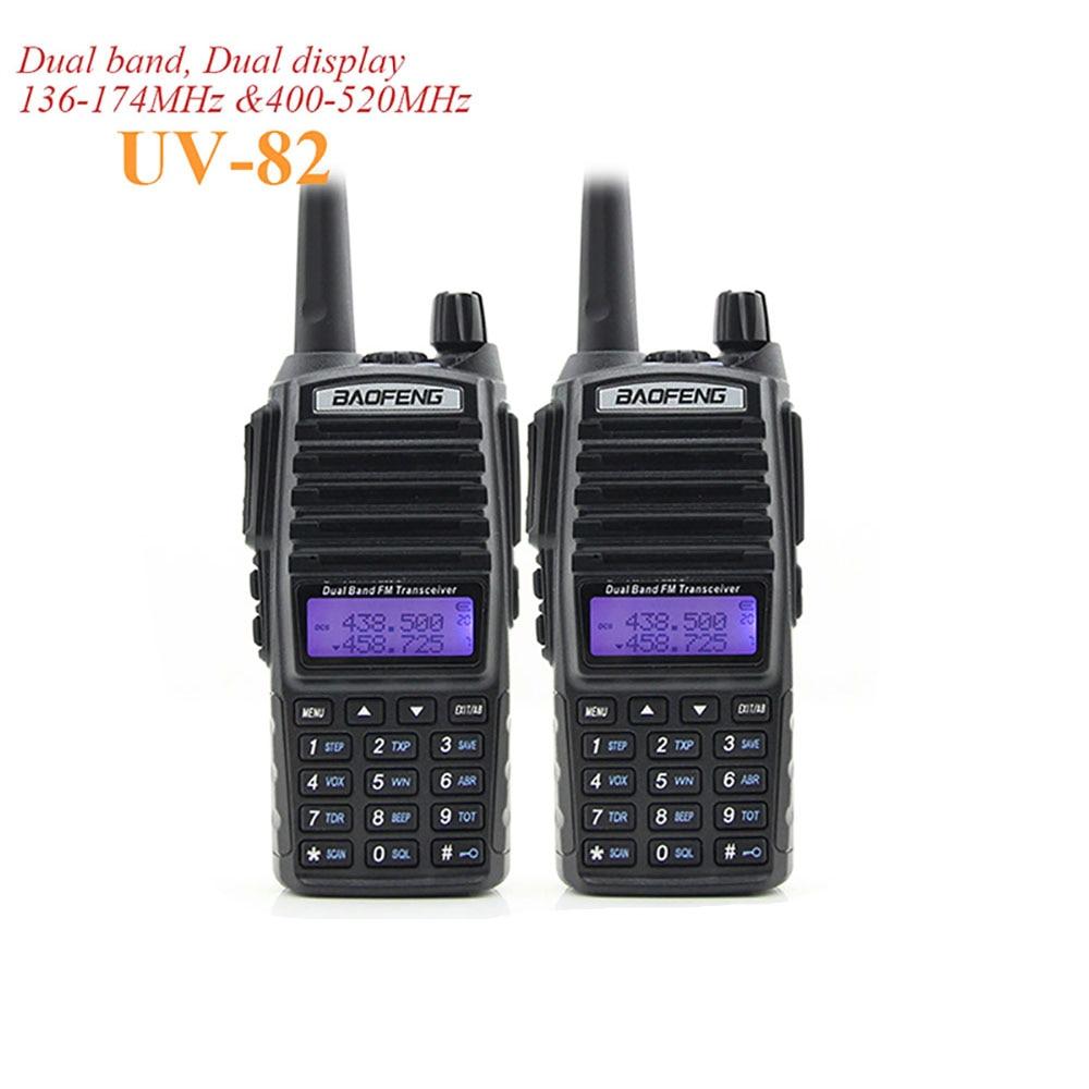 2pcs baofeng UV-82 walkie talkie dupla banda ptt vhf uhf rádio em dois sentidos tri-potência uv 82 cb rádio portátil uv82 transceptor
