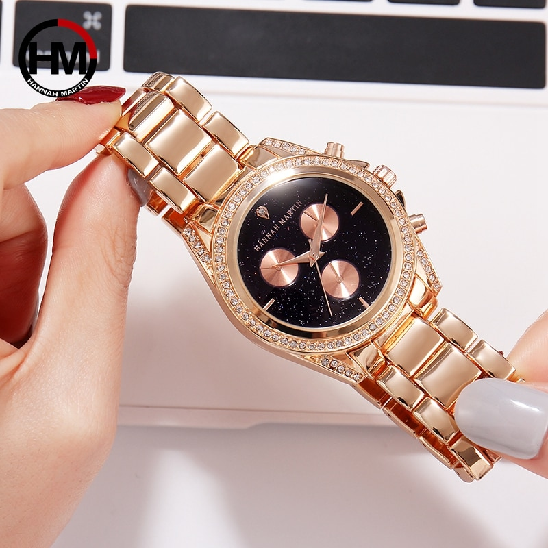 2020 Nobiliary Quartz Women's Watches Triple Dials Watch Rhinestones Women Wristwatch Diamond Ladies Waterproof Watch for Women enlarge