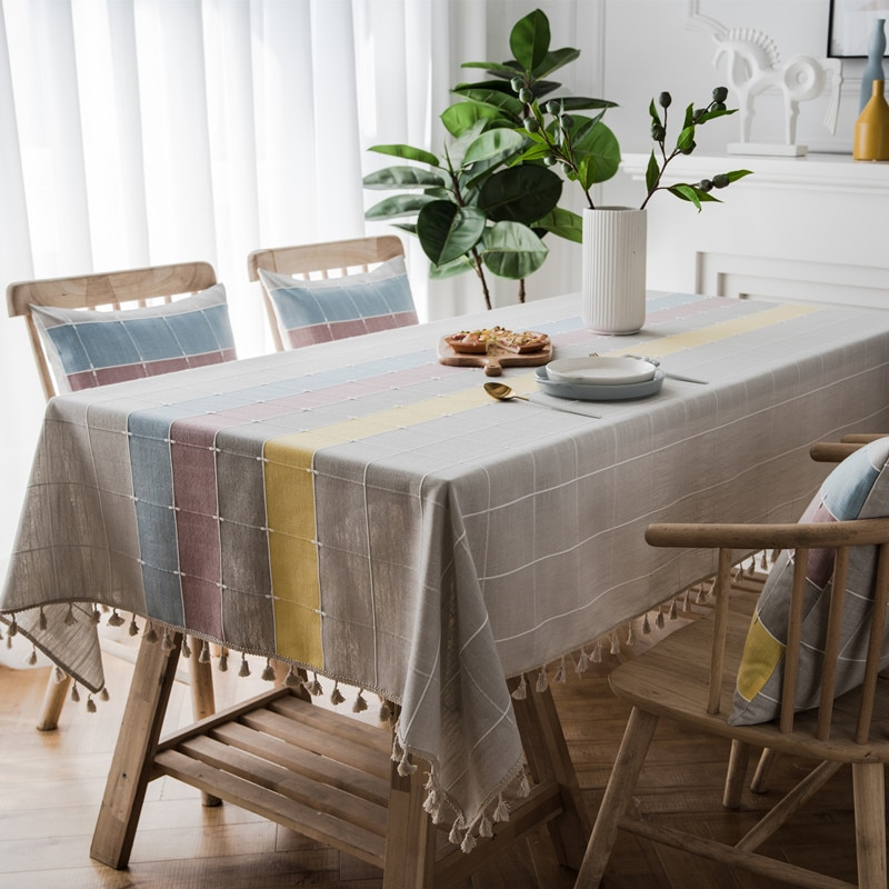 Nordic Waterproof Plaid Striped Tablecloth Imitation Cotton Linen Tassel Rectangular Dining Table Coffee Table Tablecloth