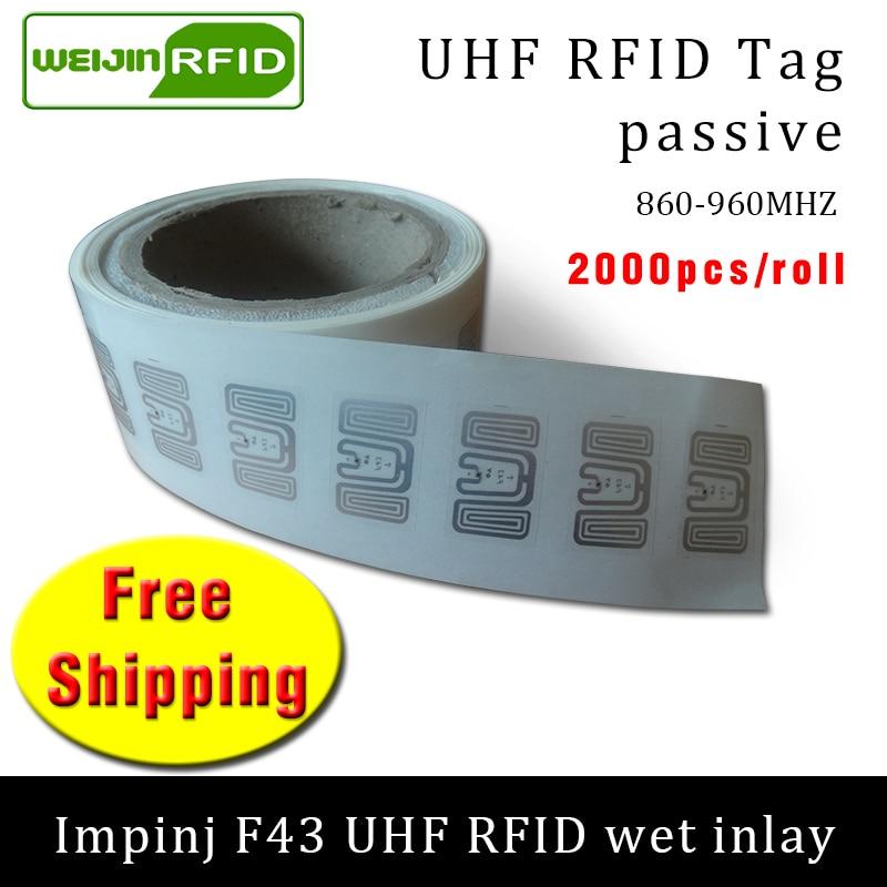 Étiquette RFID autocollante UHF   Étiquette adhésive passive, Impinj F43 EPC6C, incrustation humide, 2000 pièces, livraison gratuite