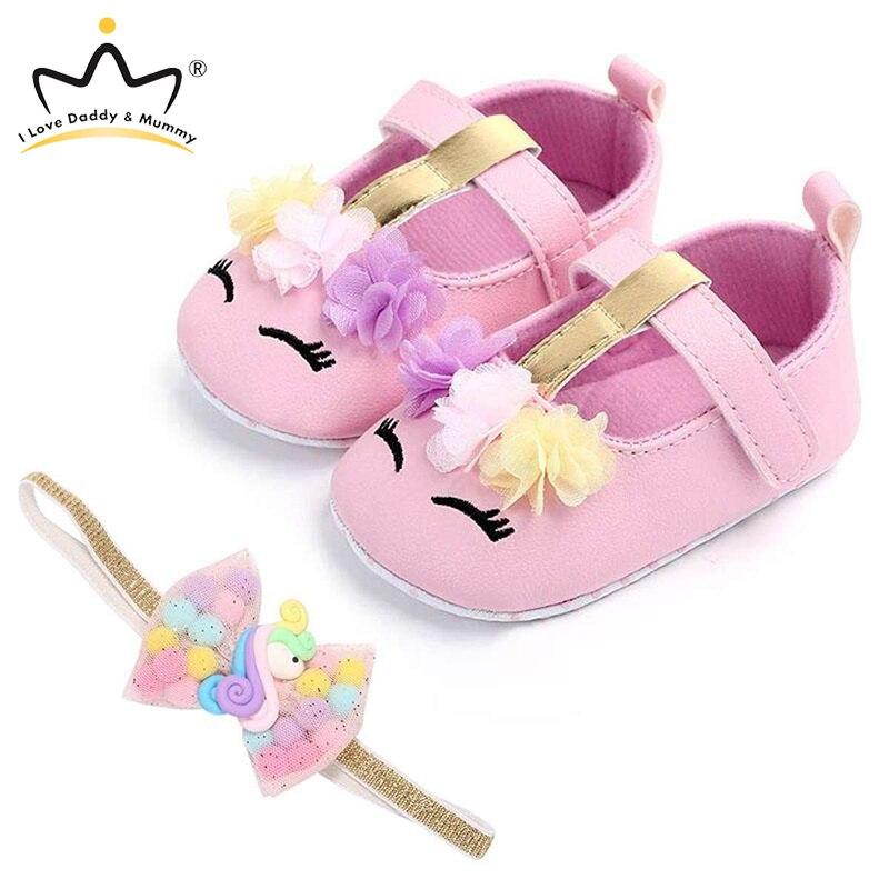 Детский комплект оголовья для обуви с милым цветочным единорогом; Обувь для маленьких девочек с мягкой подошвой; Нескользящая обувь для маленьких девочек; Обувь для начинающих ходить
