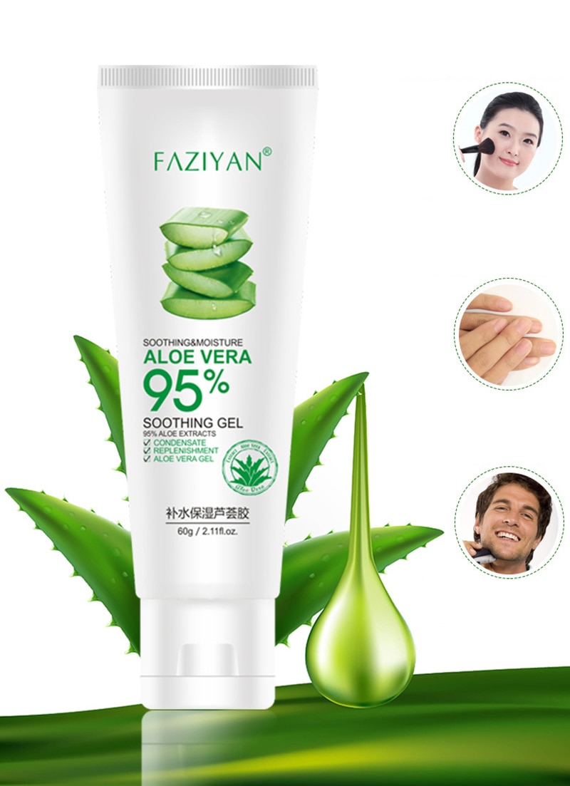 Купить с кэшбэком Face Cream Aloe Soothing Gel Aloe Vera Gel Skin Care Remove Acne Moisturizing Day Cream After Sun Lotions Skin Repair NEW