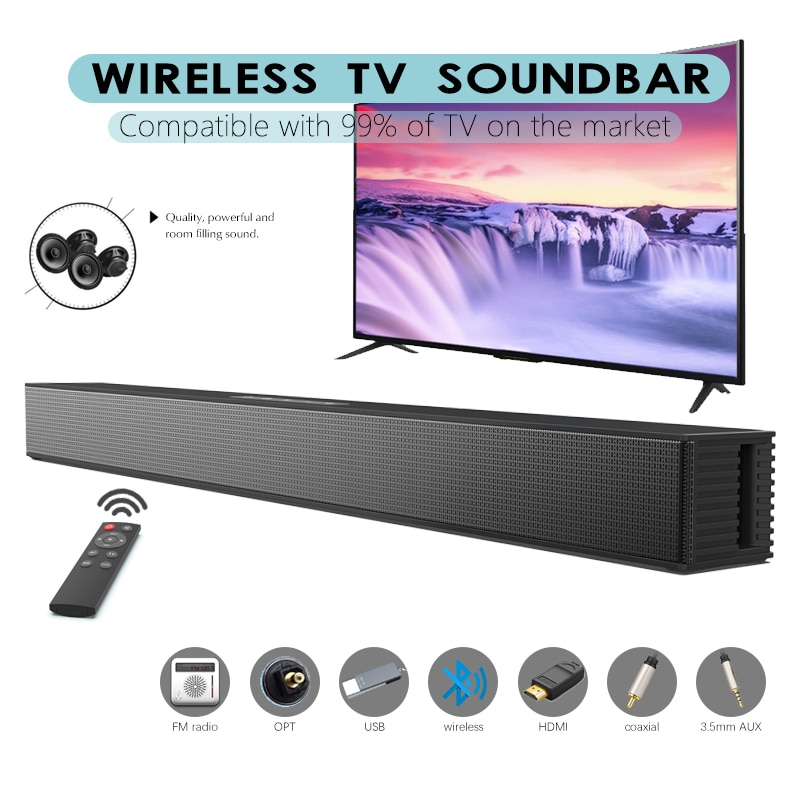 Barra de sonido estéreo BS-18 con Bluetooth, altavoz envolvente para cine en casa, barra de Sonido de TV con Subwoofer, reproductor de música con tarjeta Aux TF