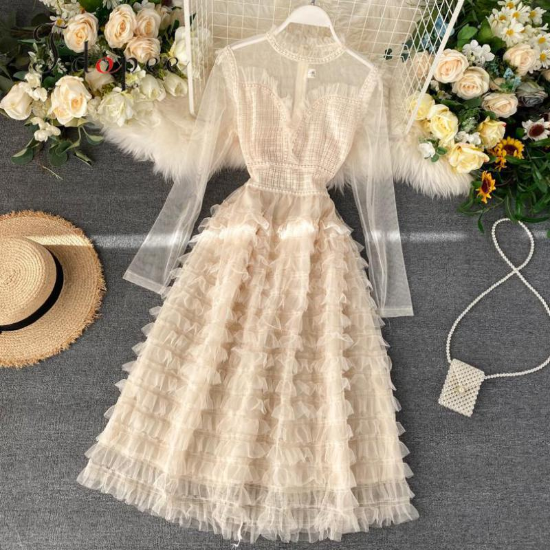 Elegant Dress Temperament Sexy Long Sleeve Sweet Splicing Mesh A-line Vestidos Fungus Stitching Mesh Pure Color Women Dress