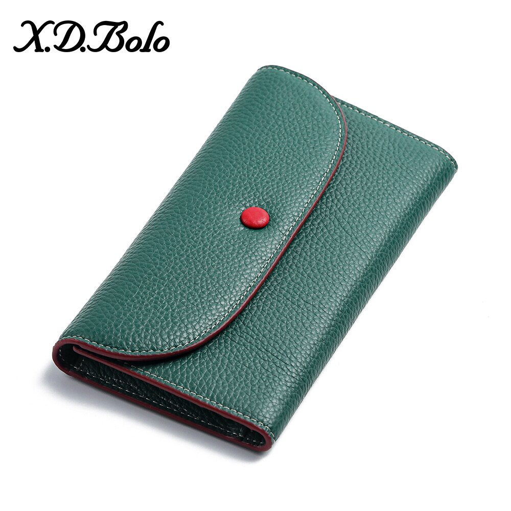 New Fashion Women Wallets Brand Letter Long Tri-fold Wallet Purse Genuine Leather Wallet Female Clut