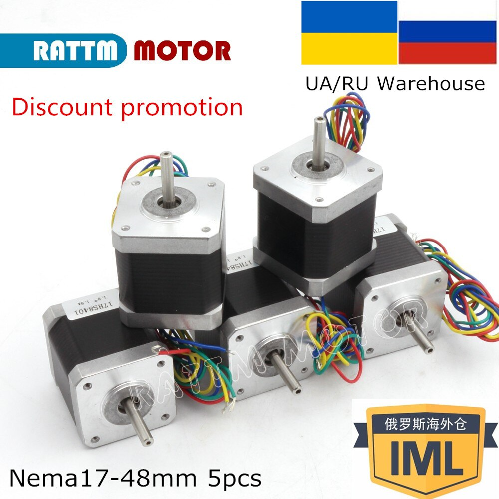 5 uds 17HS8401 motor paso a paso CNC Nema17 L 48mm 78Oz-in/1.8A para 3D impresora