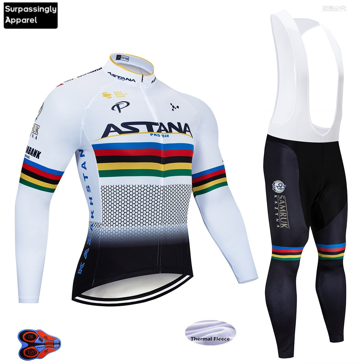 2019 astera de manga larga de Ciclismo Jersey pantalones de bicicleta conjunto de almohadillas 9D para hombre Ropa Ciclismo Pro térmico Ciclismo Maillot Culotte