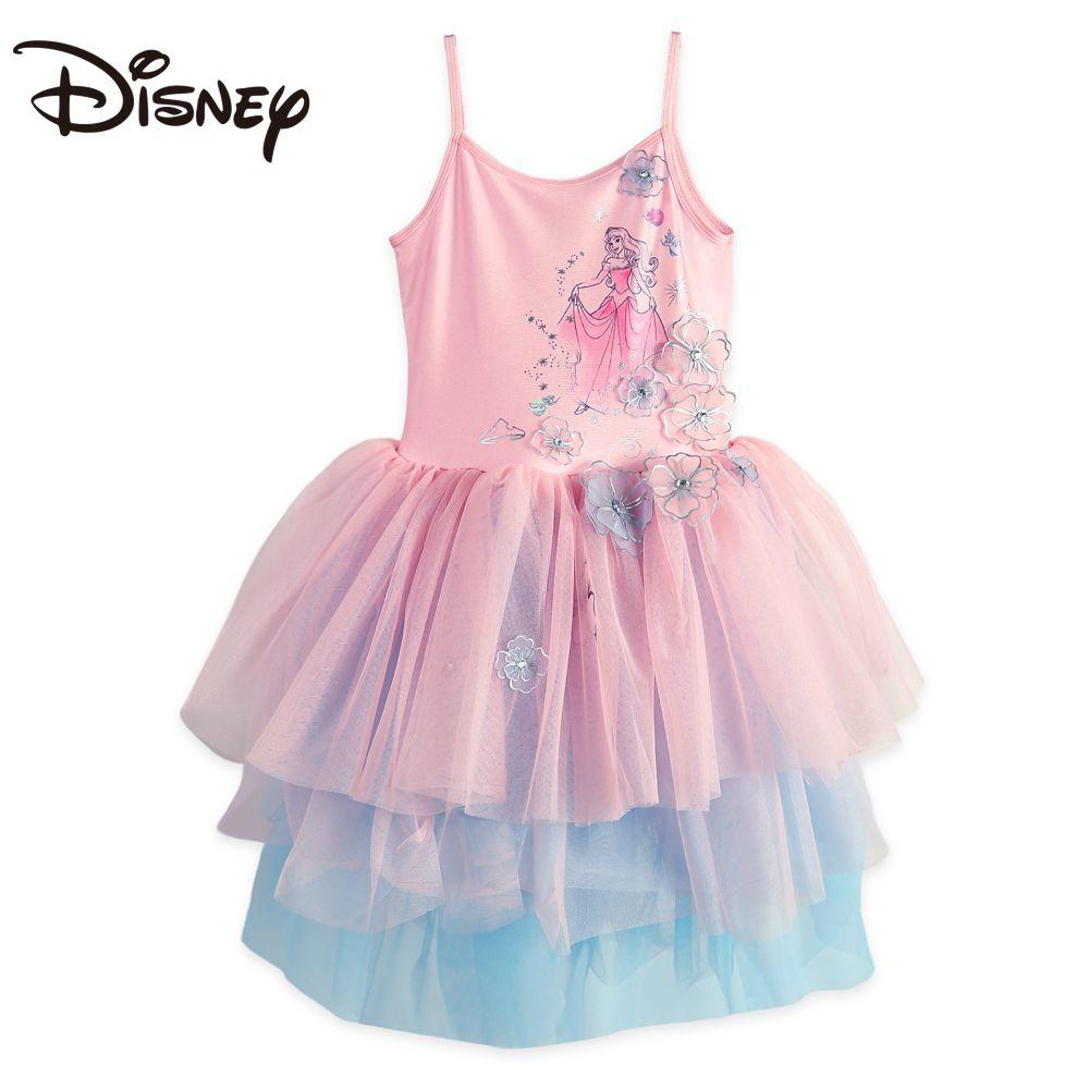 Disney Child Girl Cartoon Aurora Princess Dress Sleeping Beauty Girl Dress Puffy Polo Dress skirts womens mini skirt