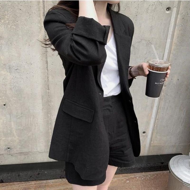 Hzerip 2021 المرأة السترة دعوى OL أنيقة مكتب سيدة القطن الكتان السترة + سراويل قصيرة الدعاوى 2 قطعة مجموعات ملابس واقية من الشمس