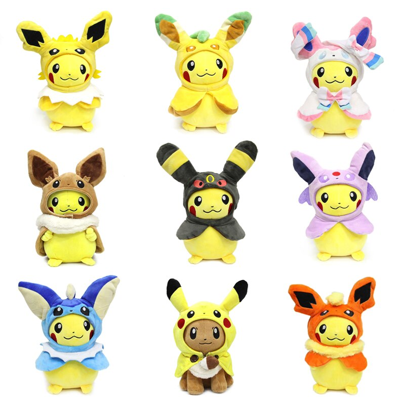 Takara tomy pokemon capa pikachu eevee brinquedo de pelúcia sylveon leafeon espeon vaporeon recheado adorável boneca hobby colecionáveis presentes