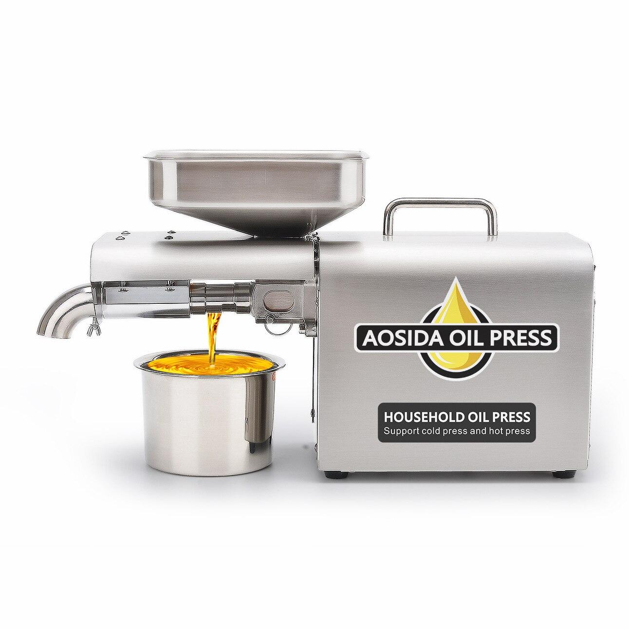 110 فولت/220 فولت 500 واط التلقائي المنزلية ذكي آلة ضغط الزيت المنزلية الصغيرة الفولاذ المقاوم للصدأ آلة ضغط الزيت