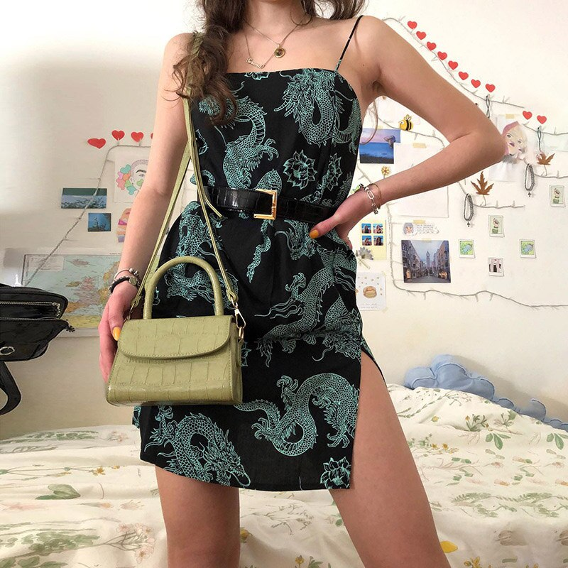 2020 Dragon Print Sleeveless сарафан Summer Sexy Slip Mini Dress Women Streetwear Club Outfits Vintage Harajuku Robes платье
