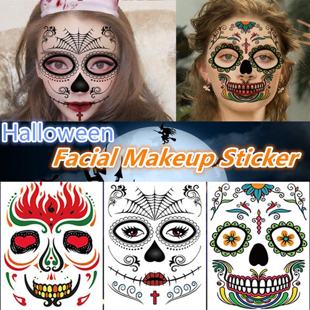 Fantasma de Halloween adhesivo para la cara tatuaje temporal arte impermeable mascarada divertida pegatina Undead Cosplay para fiesta Decoración