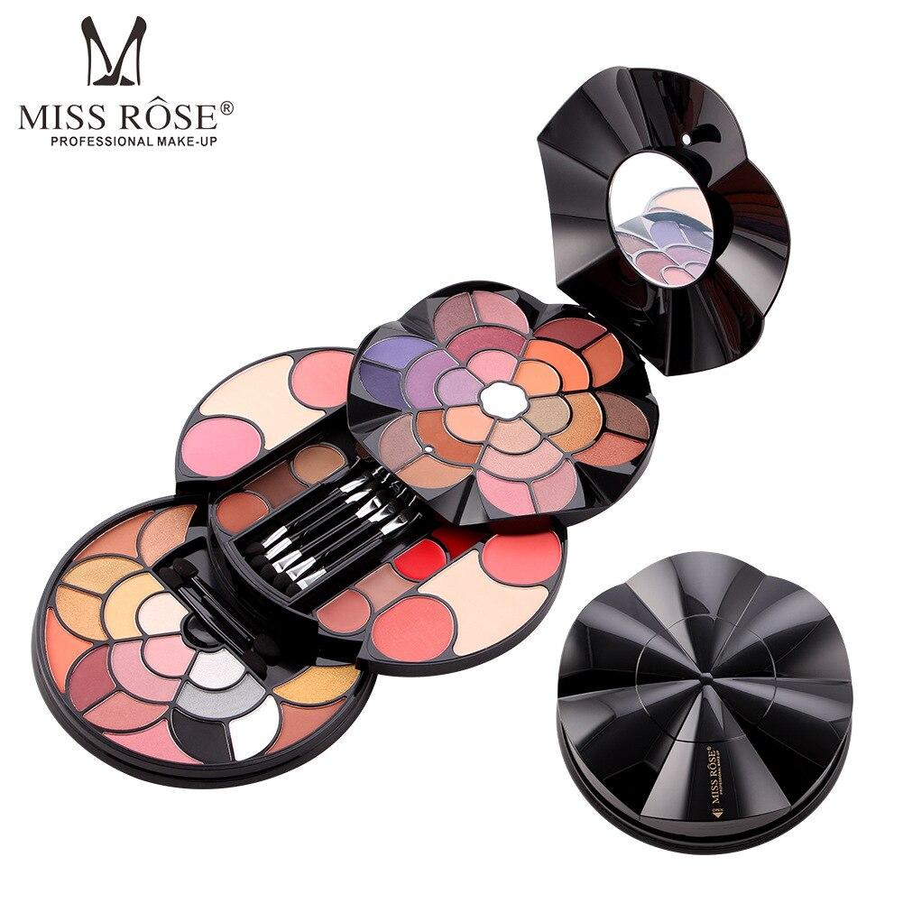 MISS ROSE 57 Color Petal Makeup Tray 43 Color Eye Shadow 4 Color Eyebrow Powder Blush Lipstick 2 Color Powder Cake Cosmetic Box