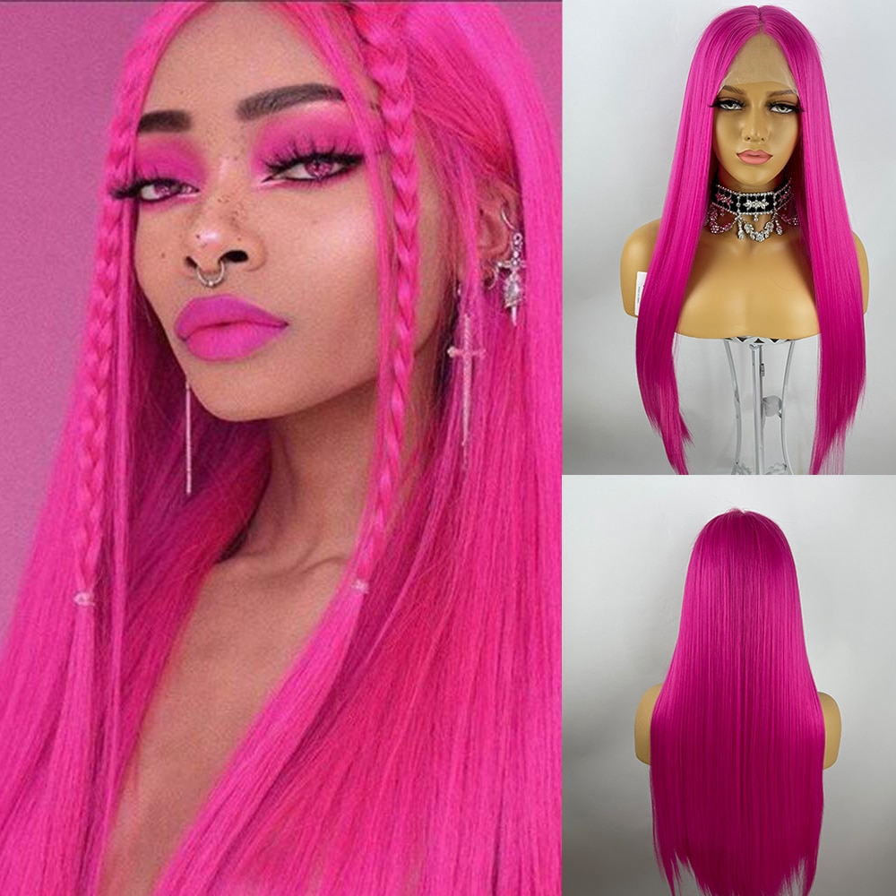 13*6 Hot Pink Colorful Lace Front Wig Long Straight hair Cosplay Wig For Women Synthetic Wigs High Density Temperature Fibre