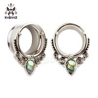 kubooz wholesale price stainless steel shell ear plugs tunnels piercing body jewelry ear stretchers expanders one lot 32pcs