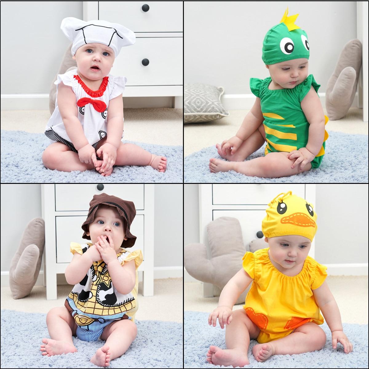 Infant Toddler Summer Short Rompers Baby Boys Girls Animal Costumes Dinosaur Chef Duck Cowboy Photoshoot Halloween Fancy Dress