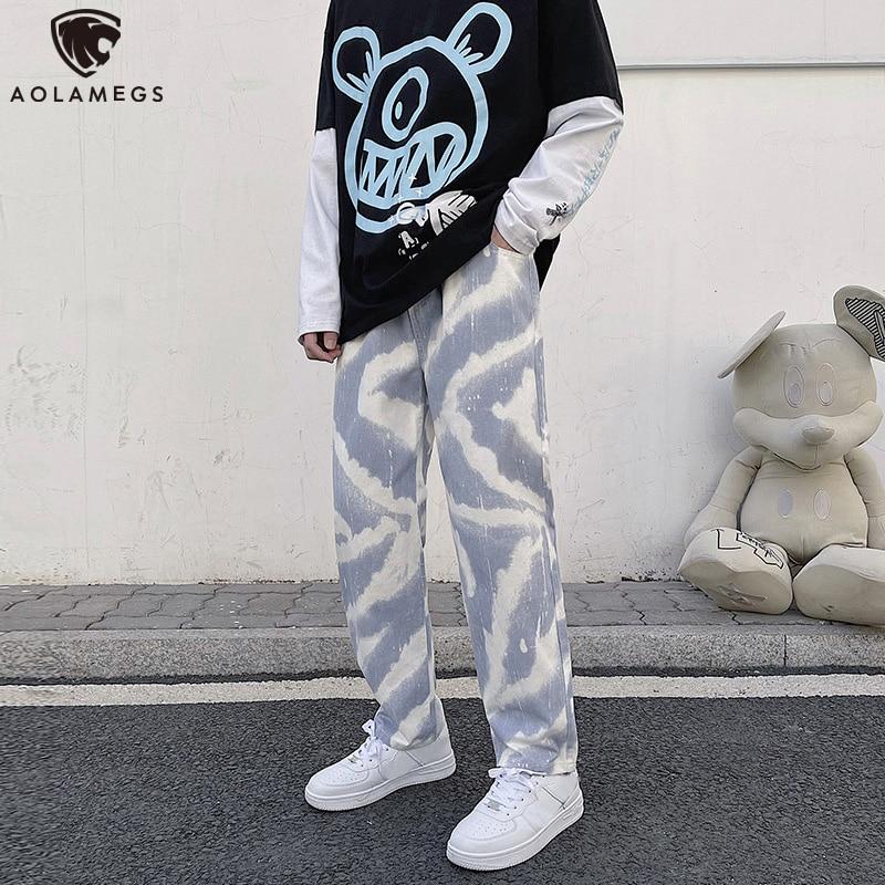 Мужские джинсы с широкими штанинами Aolamegs, уличные повседневные свободные брюки оверсайз в стиле хип-хоп с поясом на резинке
