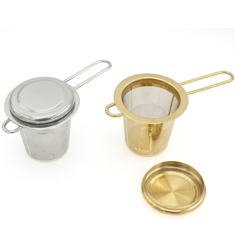 Stainless Steel Mesh Tea Infuser Reusable Tea Strainer Teapot  Loose Tea Leaf Spice Filter Folding Handle Drinkware Kitchen Tool