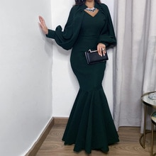 Women Dress 2021 Spring Elegant Sexy V Neck Formal Long Party Dress Casual Plus Size Slim Ruffles Of