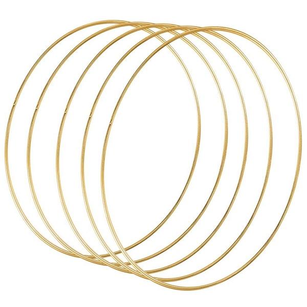 Caliente 5 Pack de 14 pulgadas grande de Metal Floral de corona de Macrame de aro de oro anillos para DIY guirnalda decoración sueño Catcher y Macrame pared H