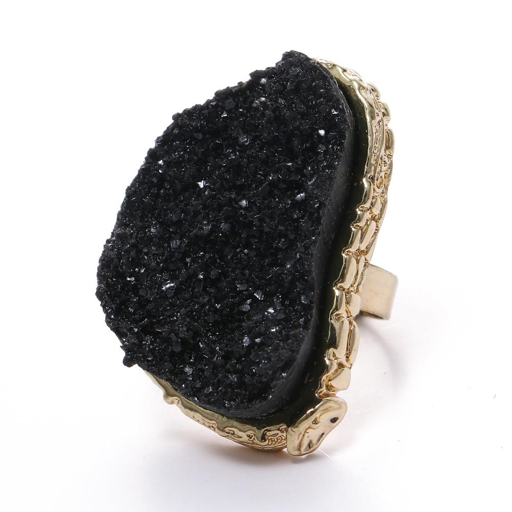 2020 Boho enorme Druzy anillos de resina abierto Ajustable anillo mujeres regalos...