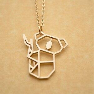 50pcs/lot New Fashion Origami Koala Necklace Jewelry Cute Animal Pendant Necklace Baby Koala Gift For Animal Lover