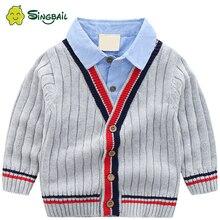 Cardigan dautomne pour bébés garçons   Pull, vêtements pour enfants, col en V, rayé, manteau de mode tricoté pour noël, pulls pour nouvel an, YX, 2020