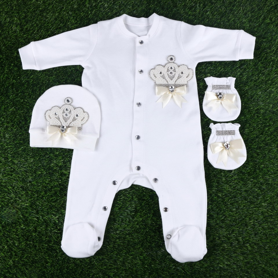 0-3 months newborn baby girl boy clothes set gift include beaded crown with rompers footies hat gloves 3 pcs lovely babysuit