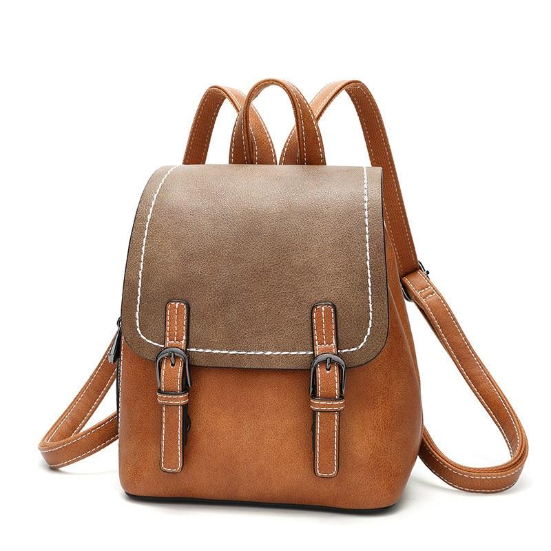 حقيبة ظهر من الجلد الصناعي عالي الجودة للنساء ، حقيبة مدرسية للمراهقين ، حقيبة ظهر متعددة الأغراض ، حزام كتف