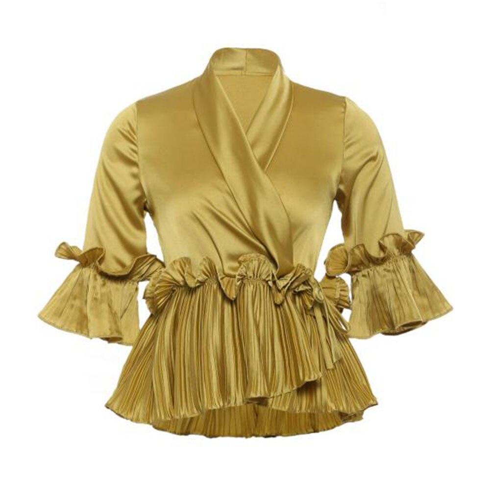 Mujeres blusas camisas Vintage sólido Amarillo Blanco Top mujer verano 2018 volante plisado vestido Peplum Lace Up Slim blusa