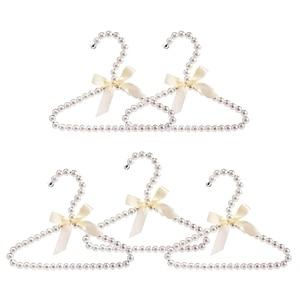 5 Pack Faux Pearl Clothes Hangers,Elegant Fashion Clothes Standard Hangers for Children(White)