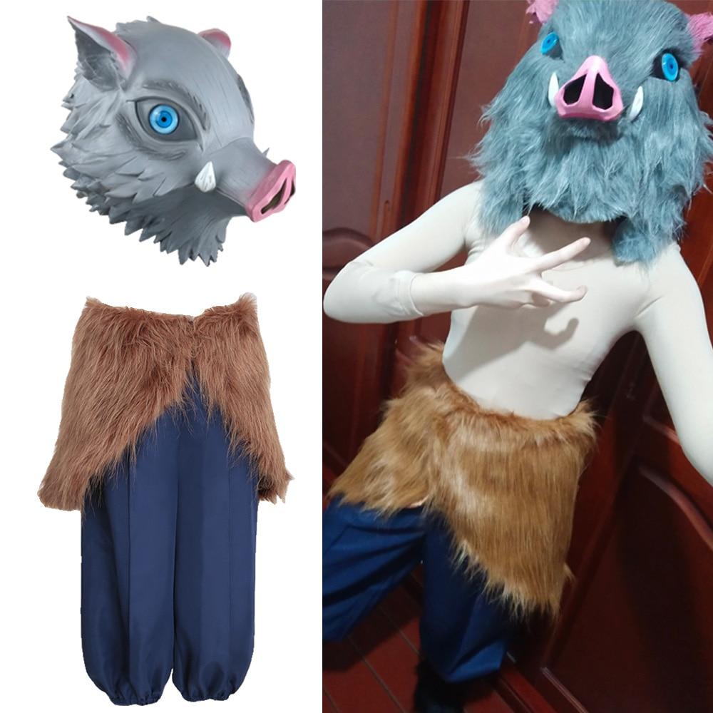 Hashibira inosuke máscara traje cosplay demônio slayer kimetsu não yaiba anime calças roupa trajes de festa de halloween adereços