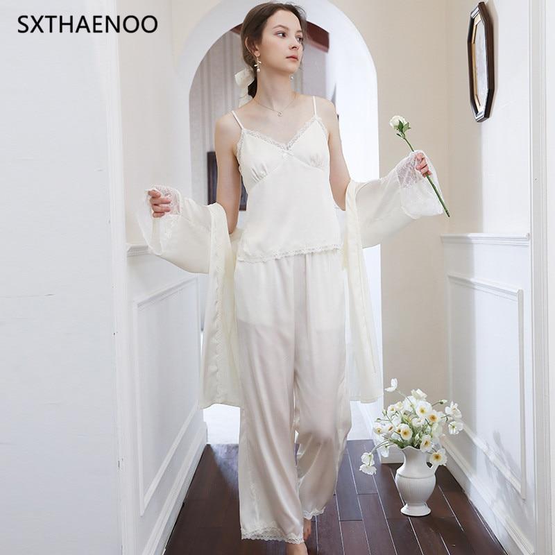 SXTHAENOO 3 قطعة منامة مجموعة المرأة الدانتيل ملابس النوم الخريف رداء منامة مجموعة الإناث Bathrobe أنيقة النساء Homewear