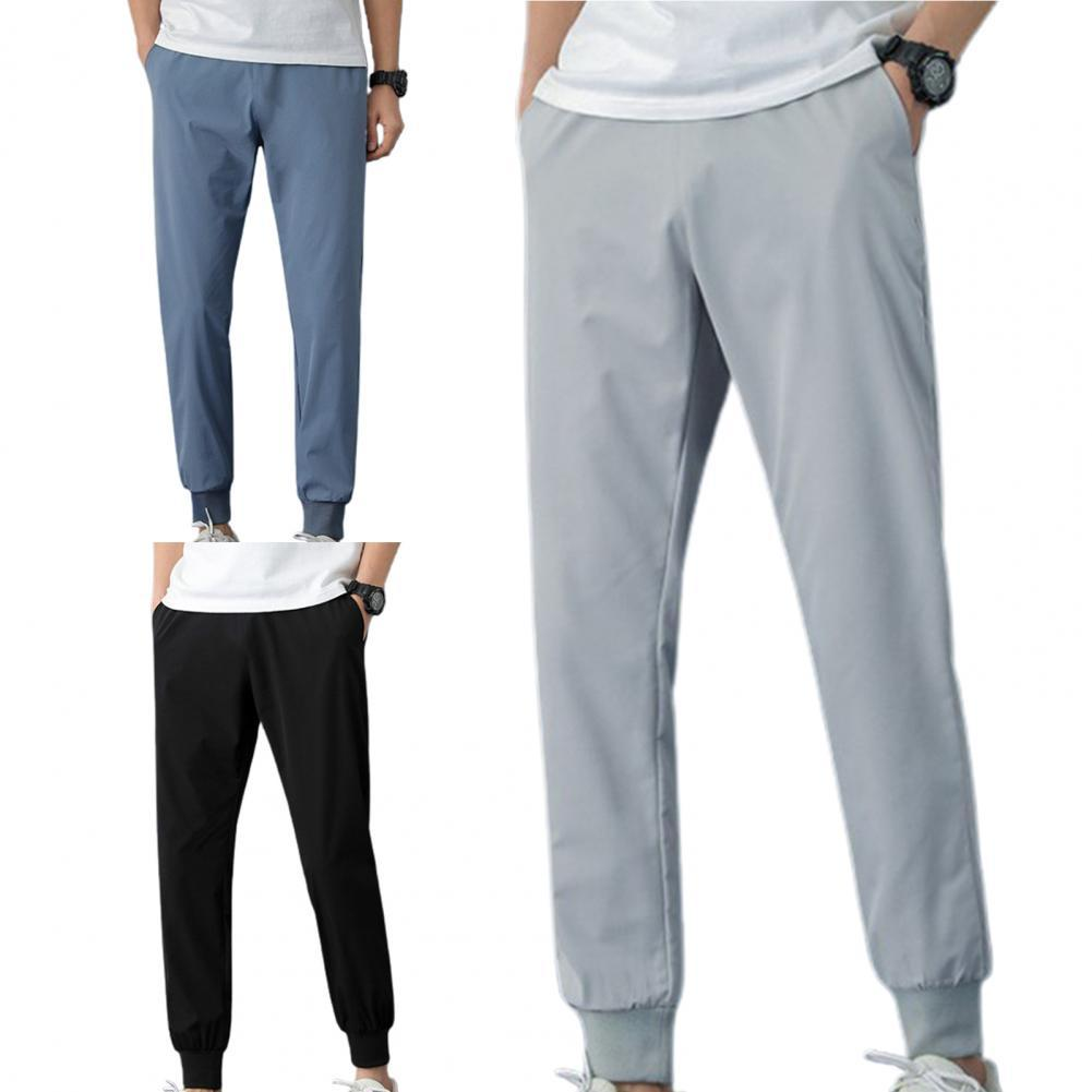 Брюки-Карандаш мужские до щиколотки, однотонные прямые спортивные штаны с поясом на резинке, с завязкой на лодыжке, летняя одежда