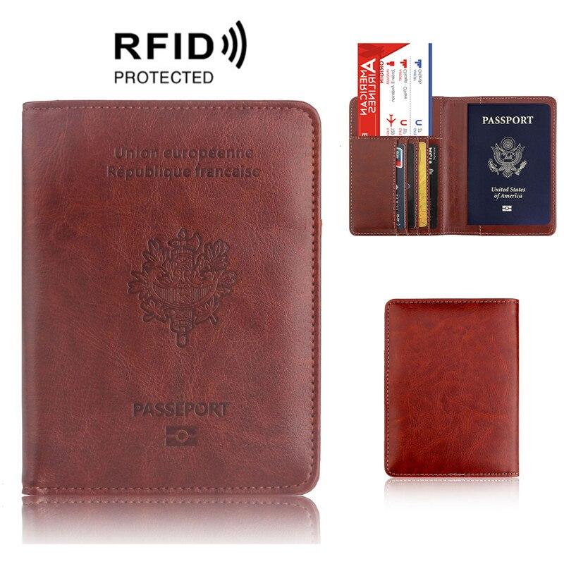 RFID bloqueo Francia cubierta de pasaporte bolsa de cuero de moda viaje Gallo pasaporte francés funda cartera para hombres y mujeres
