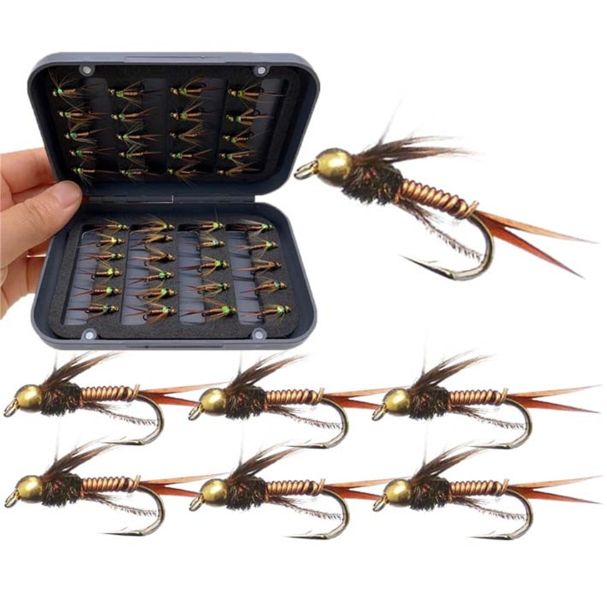 24-40 unids/caja cabeza de cuentas de latón Ninfa Scud Midge Mosca de pesca mosca trucha mosca cebos de pesca