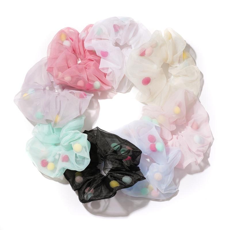 2021 Spring Summer Vocation Women Girls Organza Scrunches Cute Hairball Inside Oversize Hair Chouchou Large Size Hair Scronchies