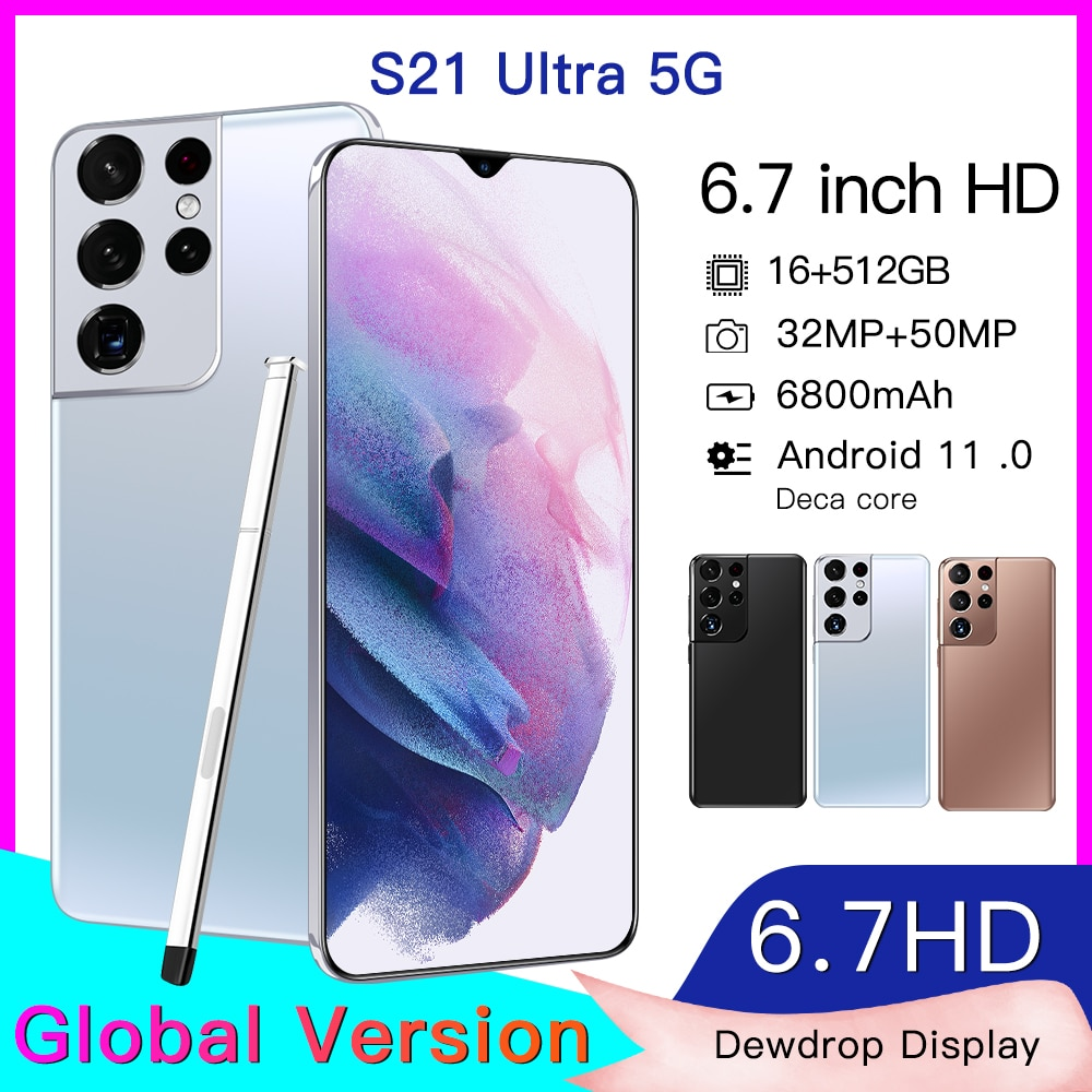 Newest Global Version S21Ultra 5G 16GB 512GB 6.7Inch Android11 Smartphone 6800mAh Full Screen Deca Core LTE Network Phone