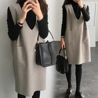 2pcsset maternity loose woolen vest skirtblack knitted maternity bottoming shirts new autumn winter dress for pregnant women